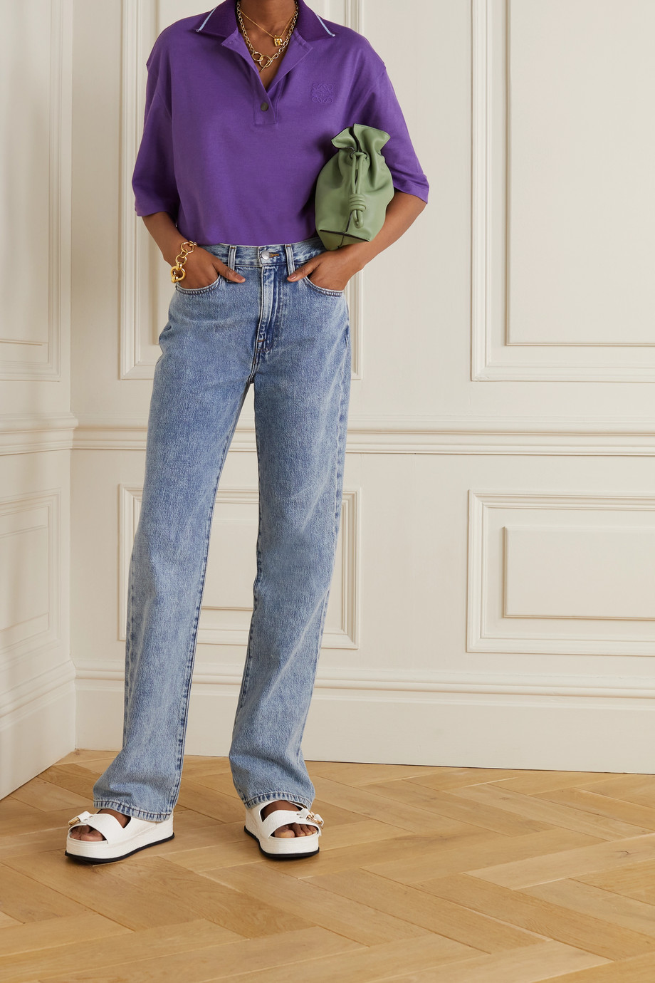 Loewe Oversized embroidered cotton and cashmere-blend piqué polo shirt