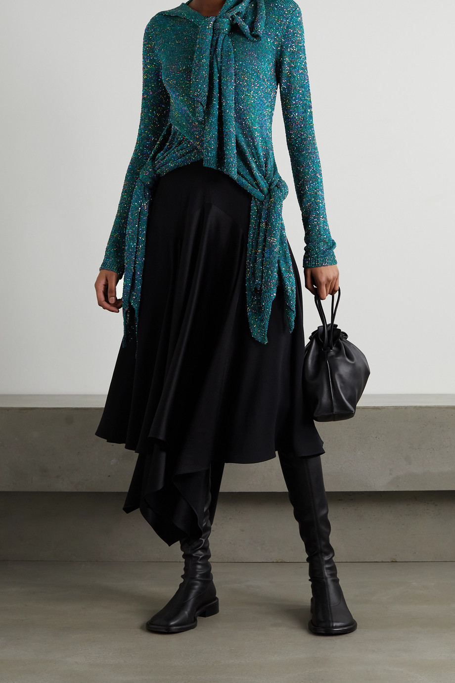 Loewe Knotted sequined knitted top