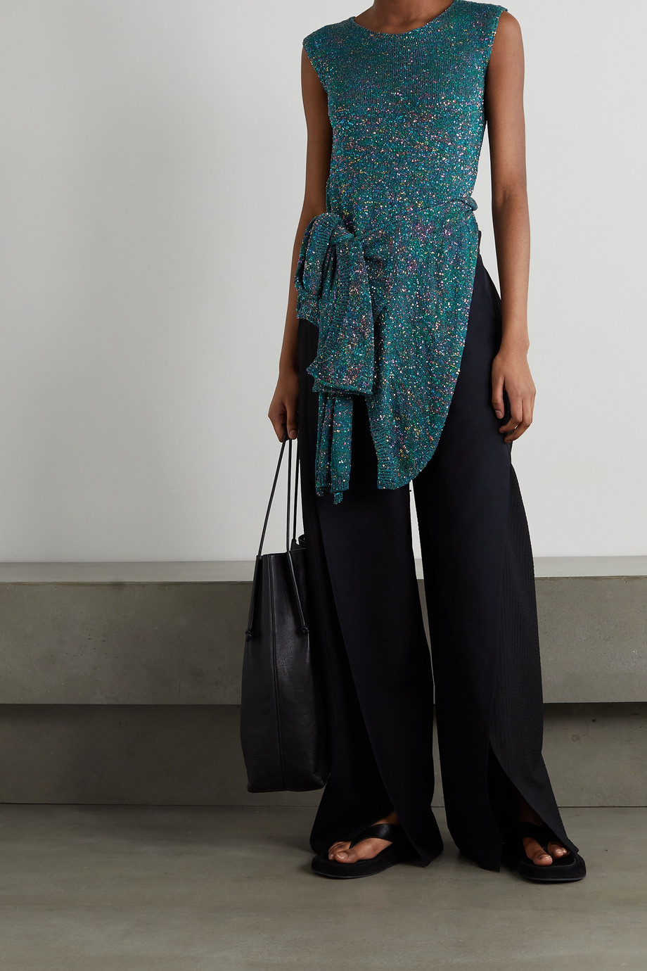 Loewe Asymmetric knotted sequined knitted top