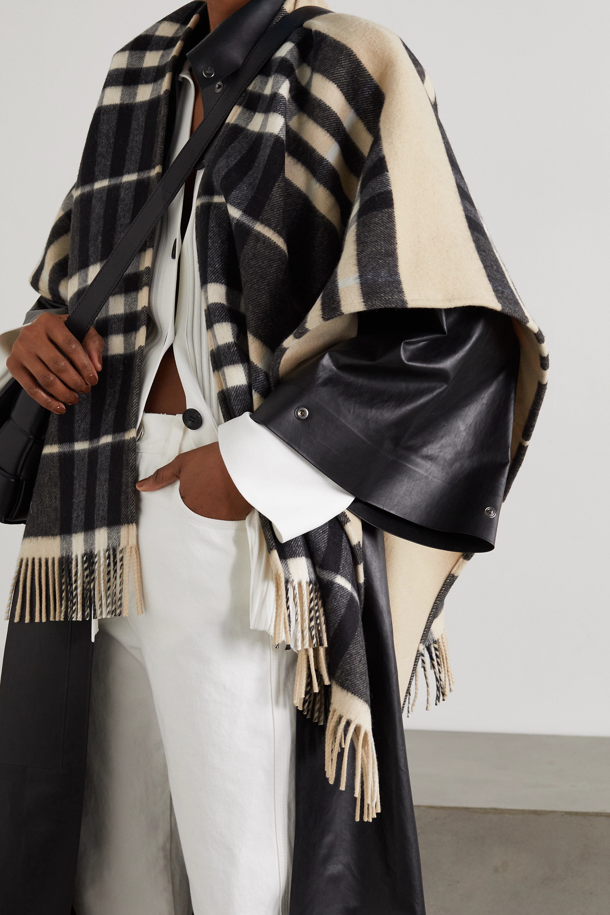Burberry Fringed checked cashmere and merino wool-blend cape