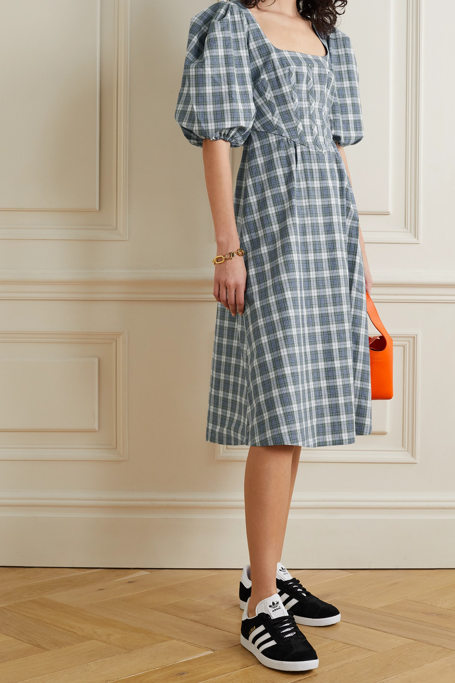 ALEXACHUNG Torrance checked cotton and linen-blend midi dress