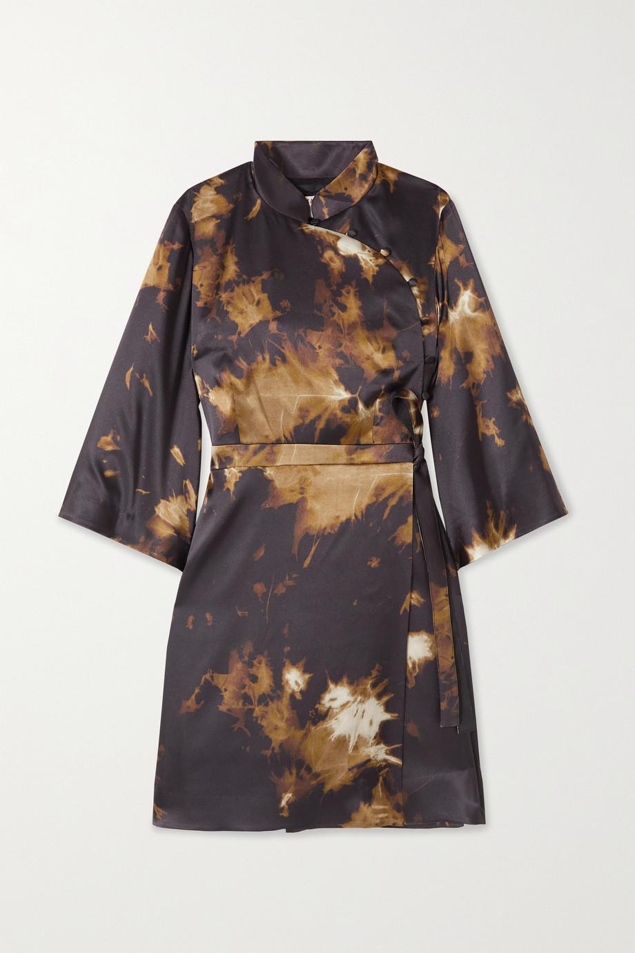 ALEXACHUNG Who By Fire printed satin mini wrap dress