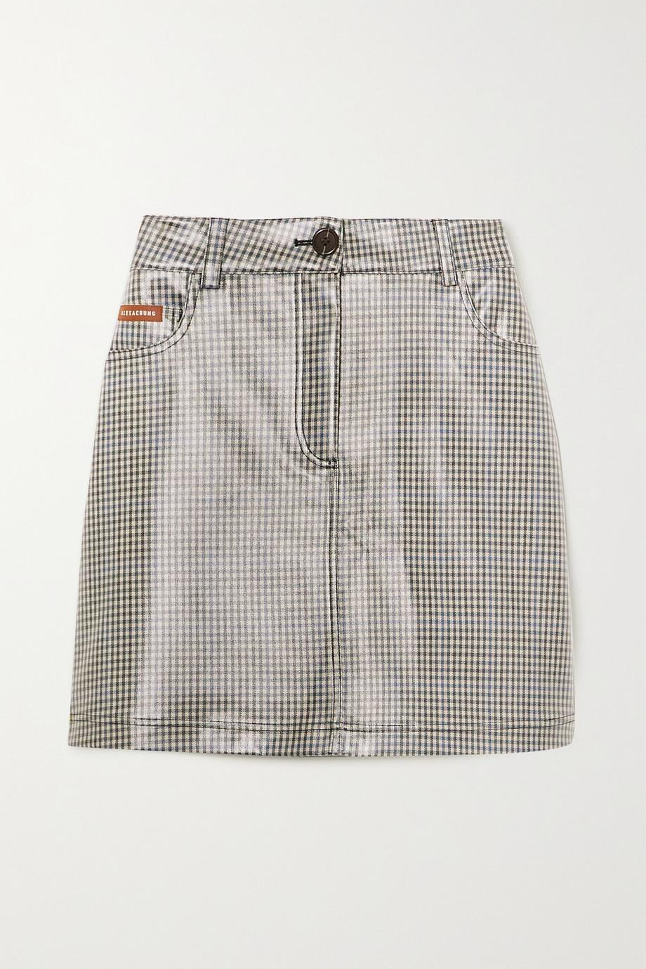 ALEXACHUNG Checked coated-PU mini skirt