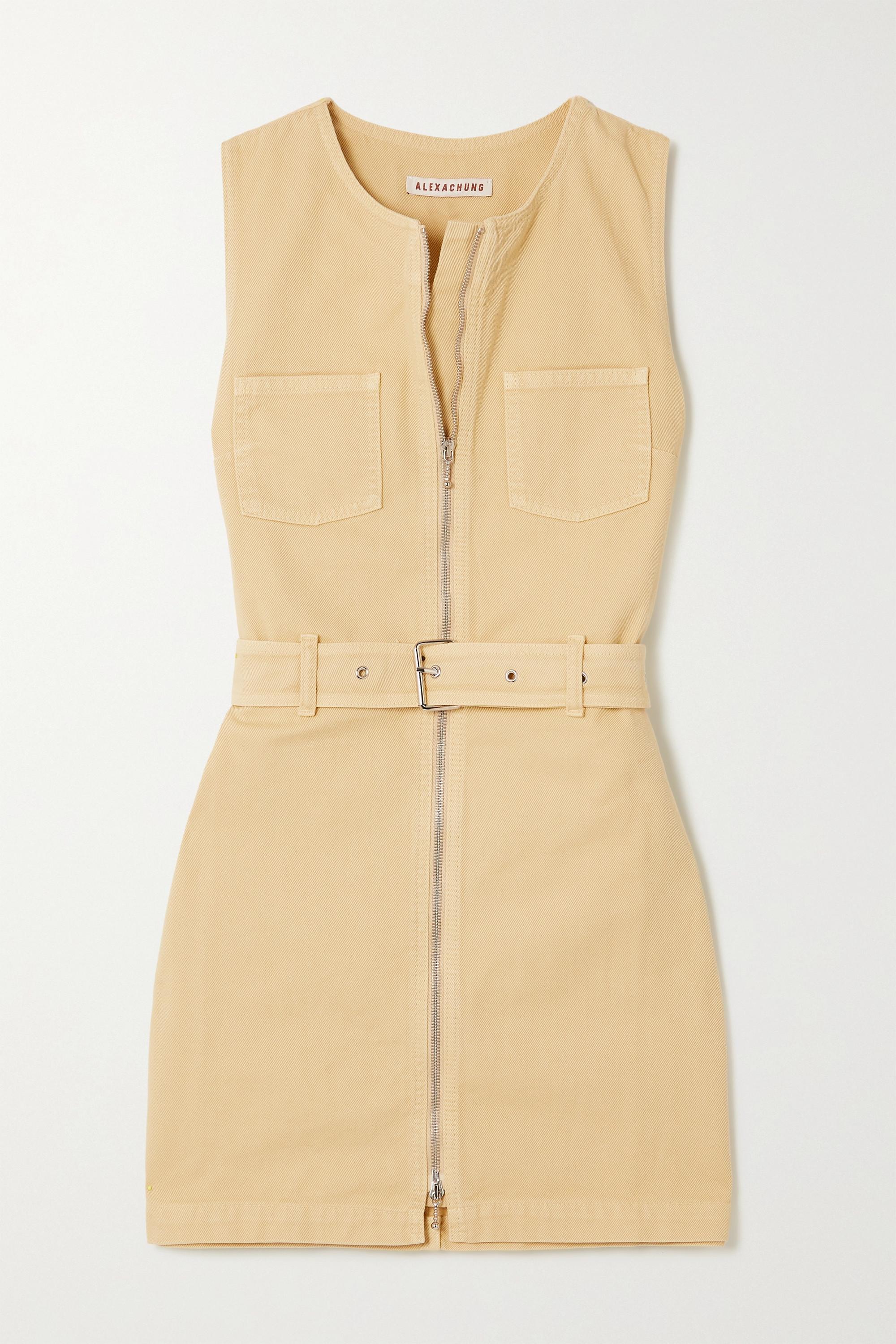 ALEXACHUNG Rosamund belted organic denim mini dress