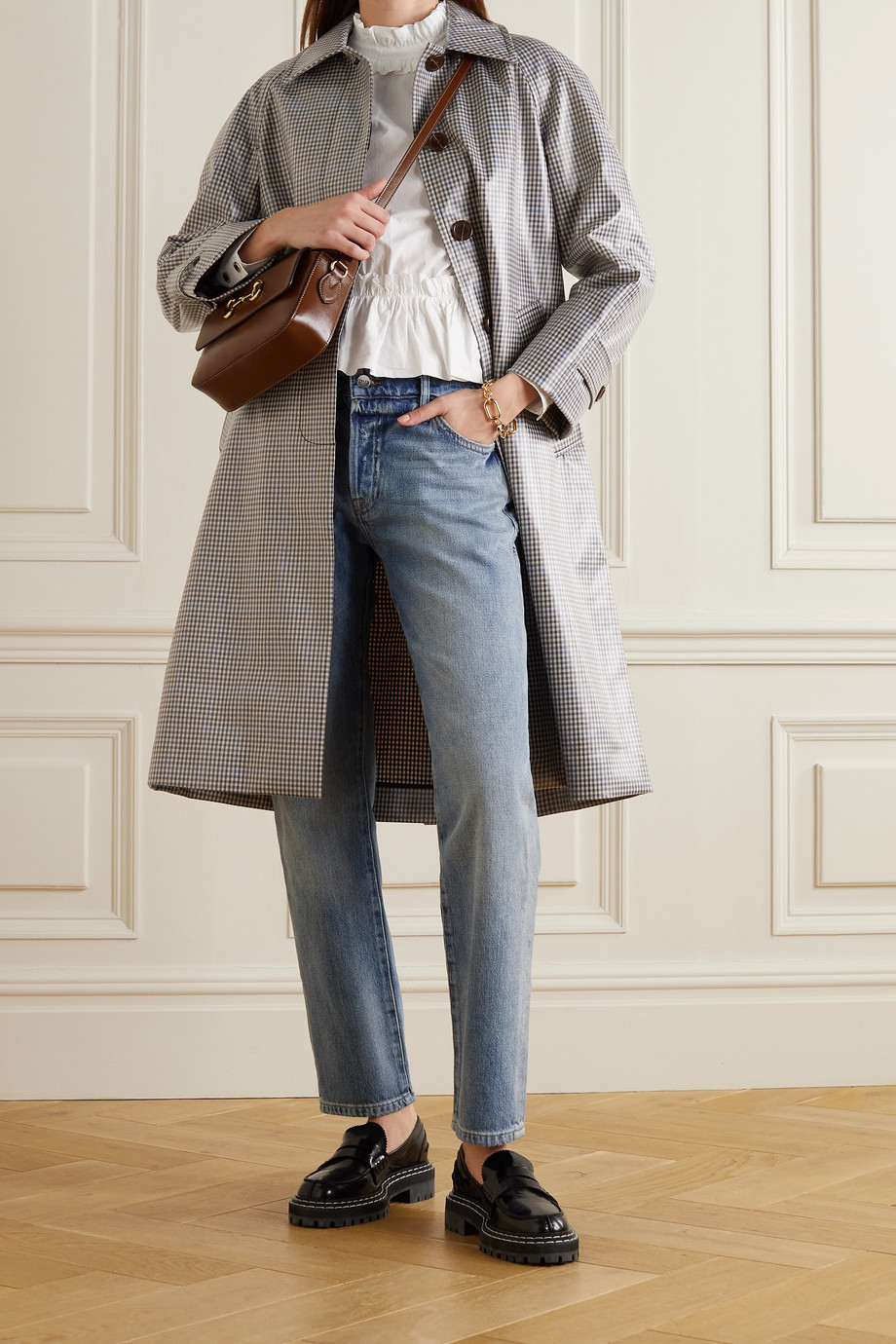 ALEXACHUNG Checked coated-twill trench coat