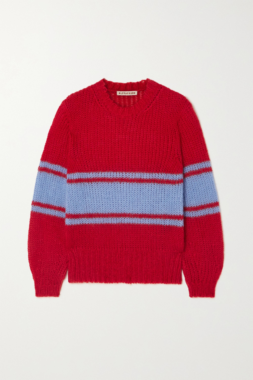 ALEXACHUNG Striped open-knit mohair-blend sweater