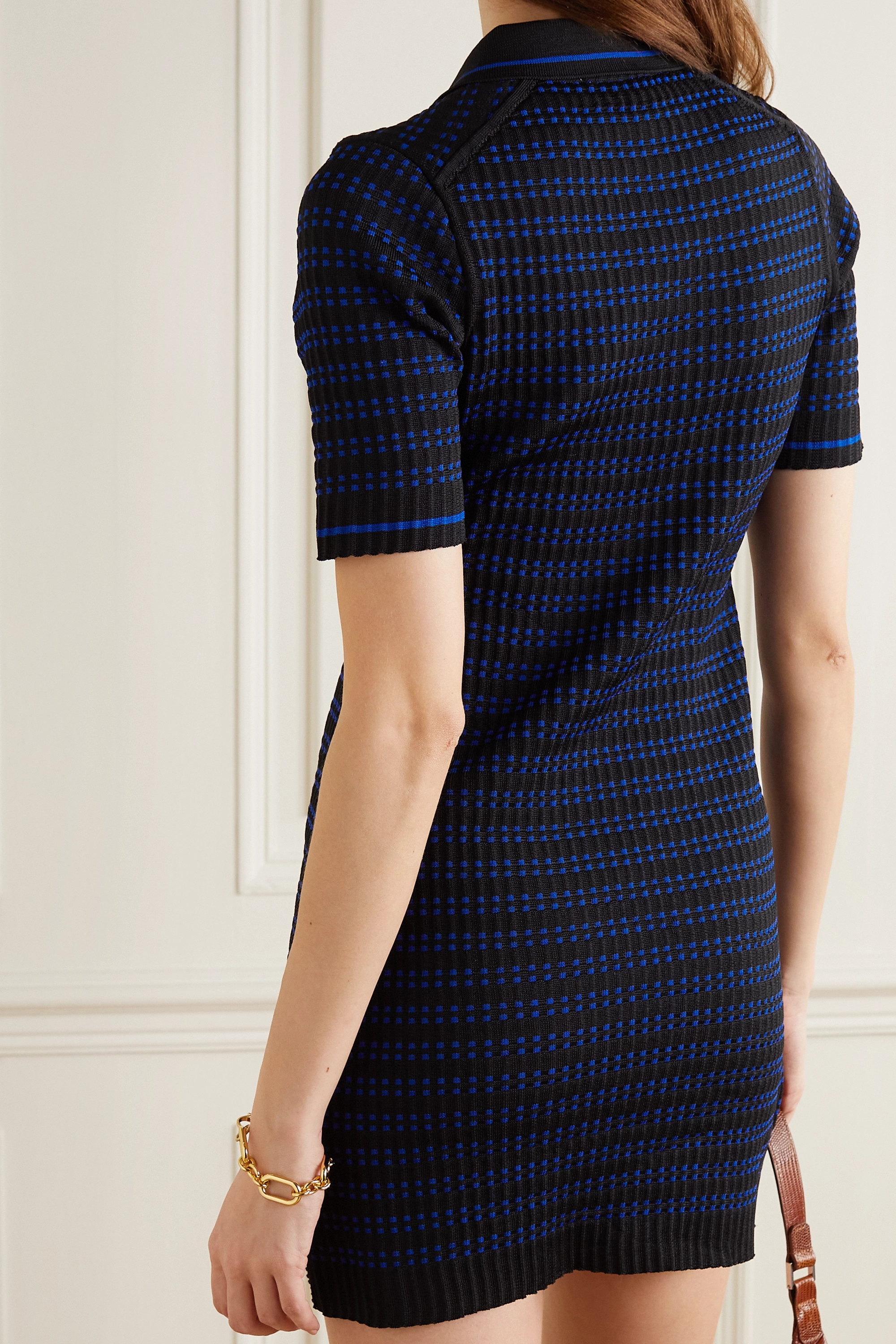 ALEXACHUNG Striped jacquard-knit mini dress