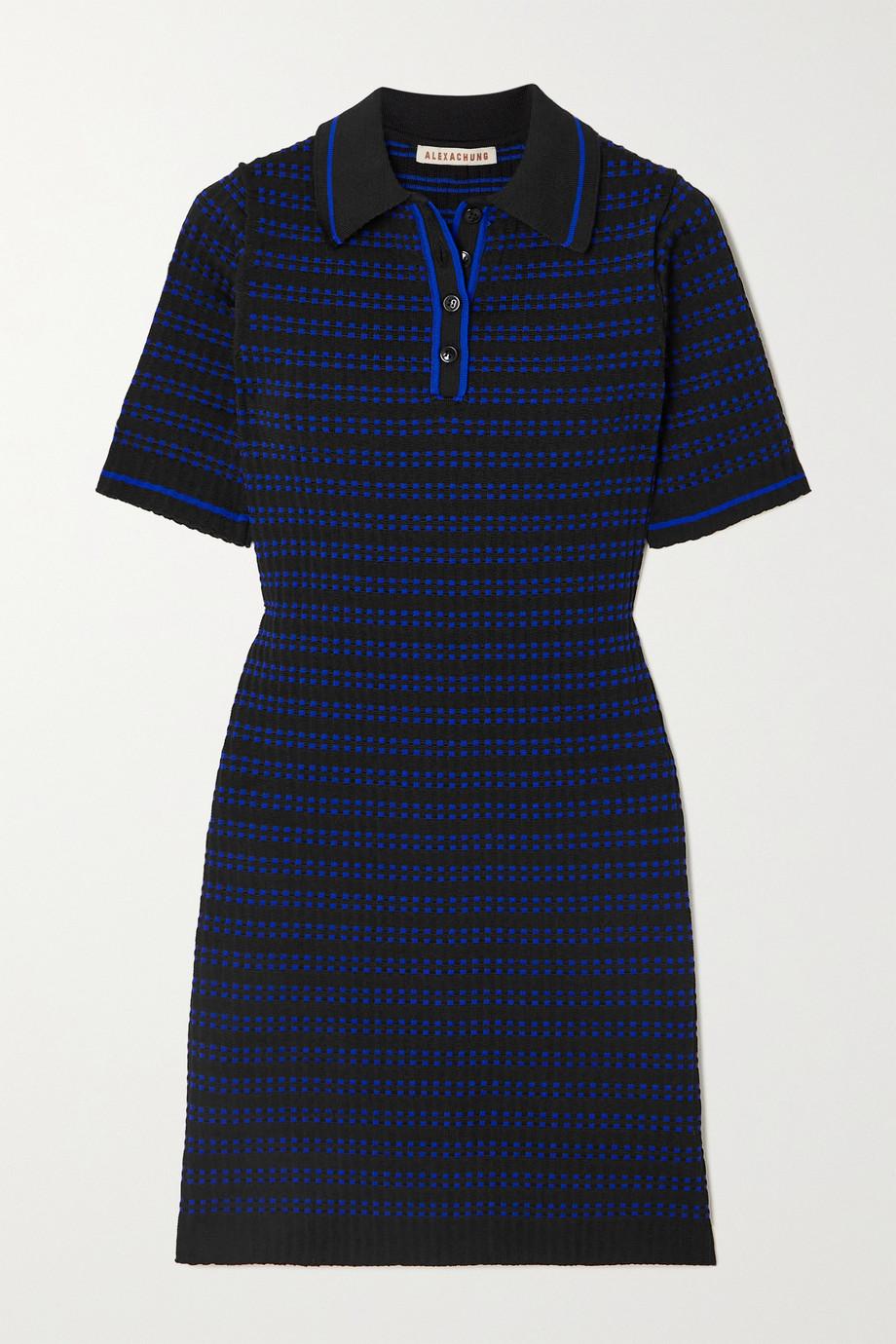 ALEXACHUNG Striped jacquard-knit mini dress