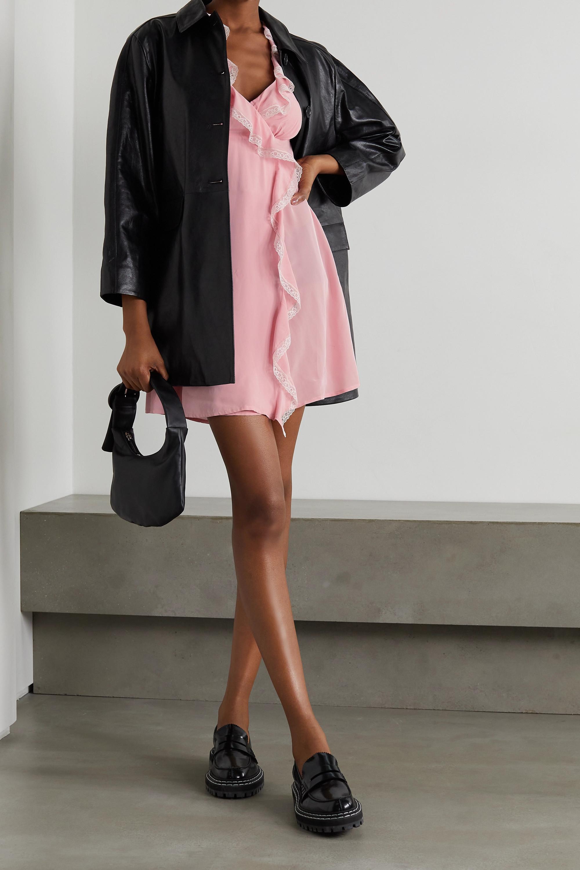 ALEXACHUNG Sherily ruffled lace-trimmed crepe mini dress