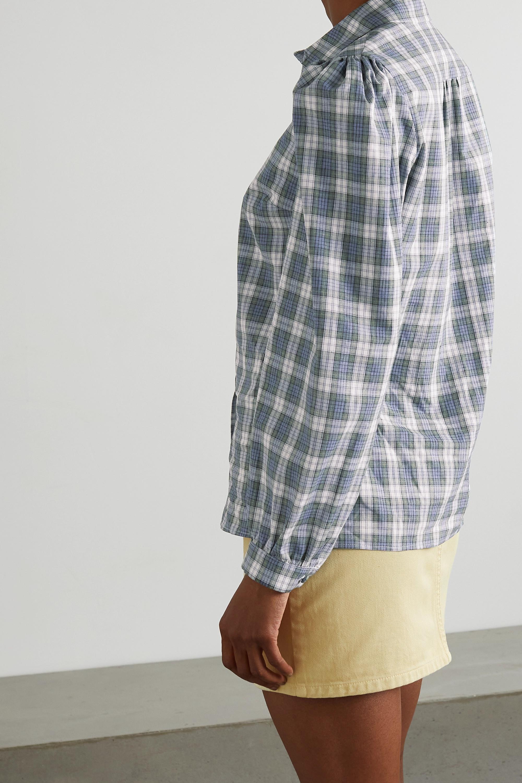 ALEXACHUNG Torrance checked cotton and linen-blend shirt