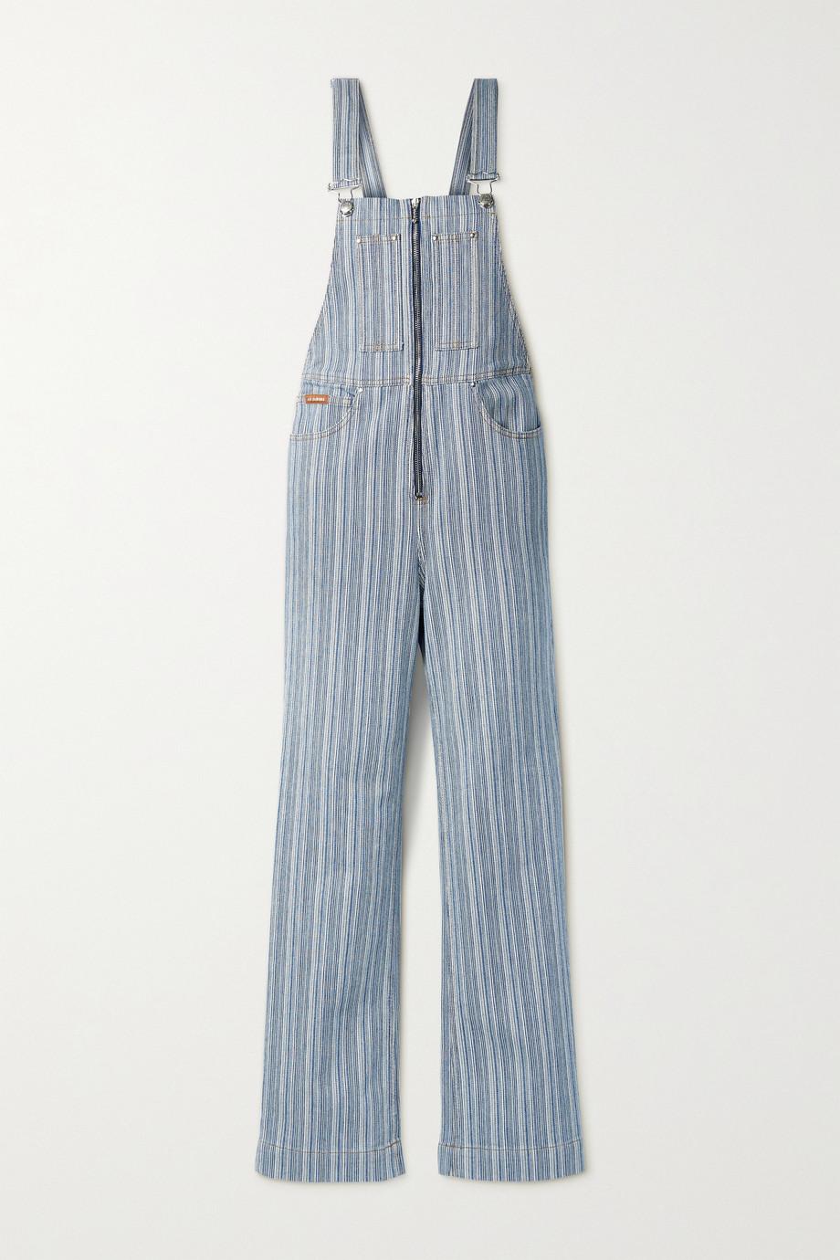 ALEXACHUNG Striped cotton-blend jumpsuit