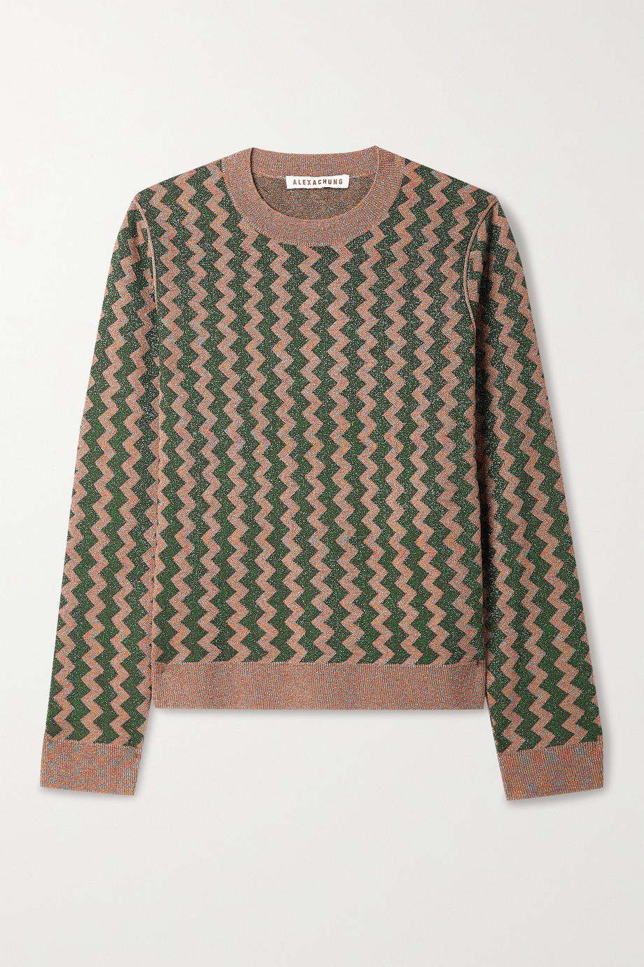 ALEXACHUNG Striped Lurex sweater