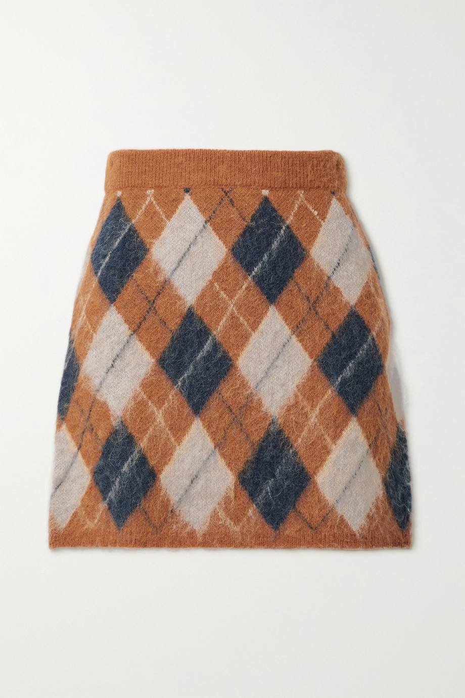 ALEXACHUNG Veronica argyle knitted mini skirt