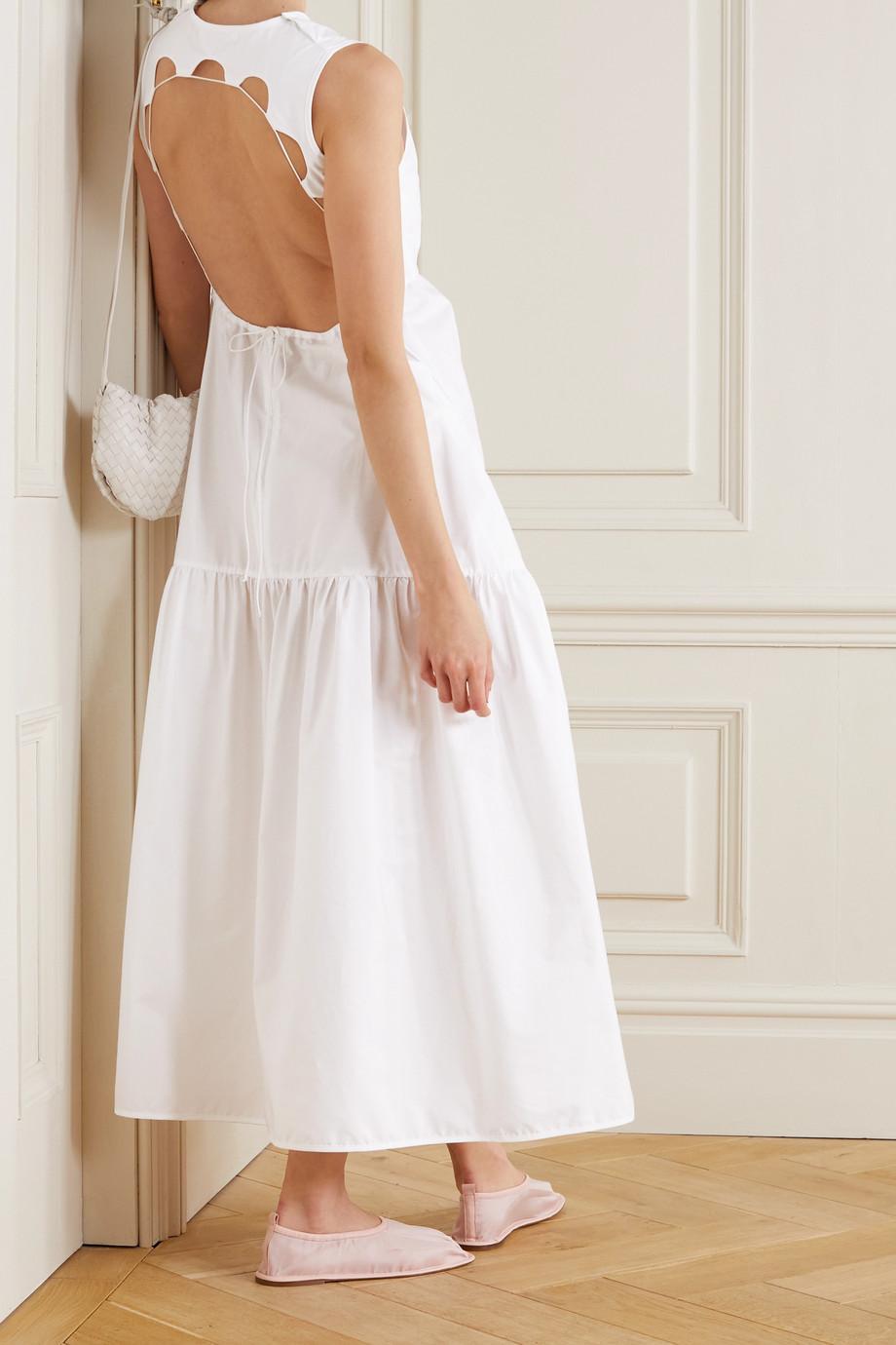 Cecilie Bahnsen Robe longue dos ouvert en popeline de coton biologique à découpes Hay