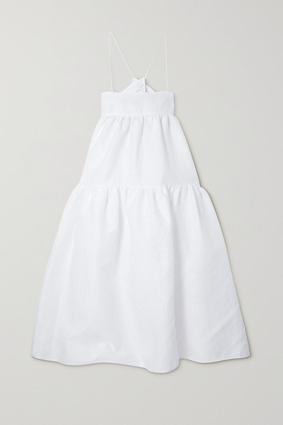 Cecilie Bahnsen Hillary tiered cutout seersucker midi dress