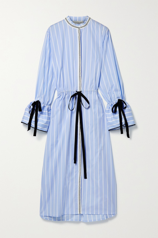 Lug Von Siga Agatha gestreiftes Midi-Hemdblusenkleid aus Baumwollpopeline zum Binden