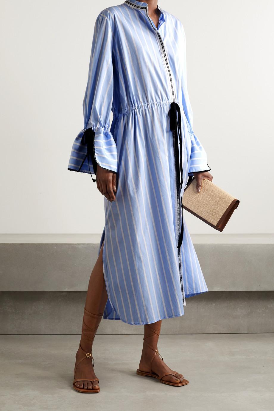 Lug Von Siga Robe-chemise midi en popeline de coton à rayures et à liens Agatha