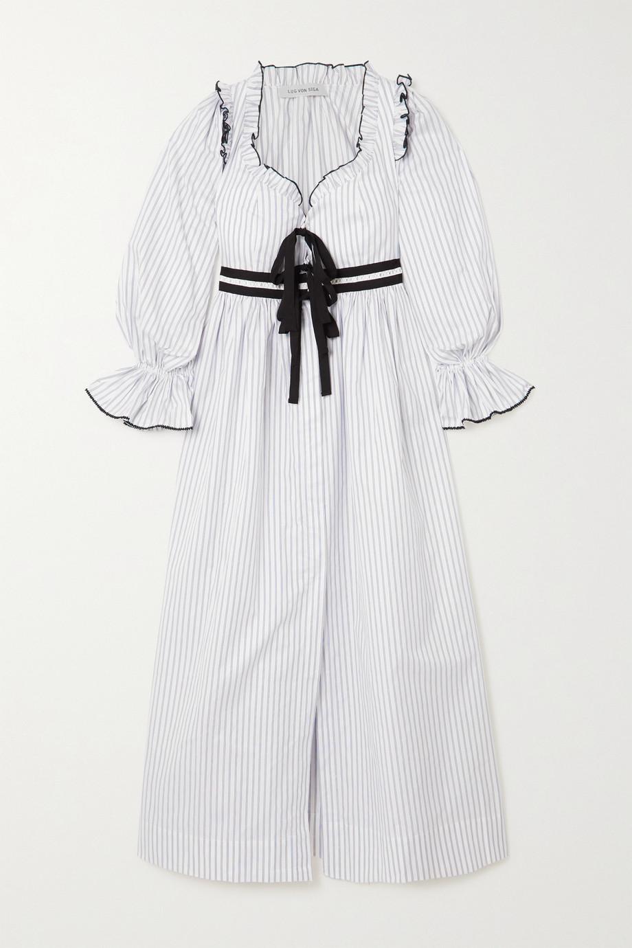 Lug Von Siga Eleanor bow-detailed ruffled striped cotton dress