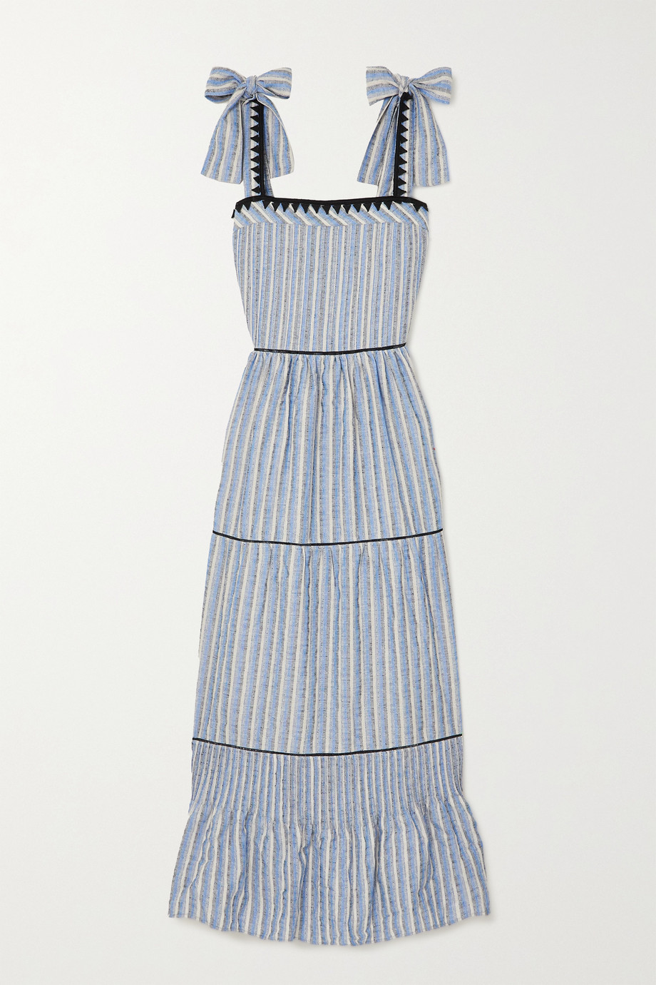 Lug Von Siga Ornella bow-detailed tiered striped jacquard maxi dress