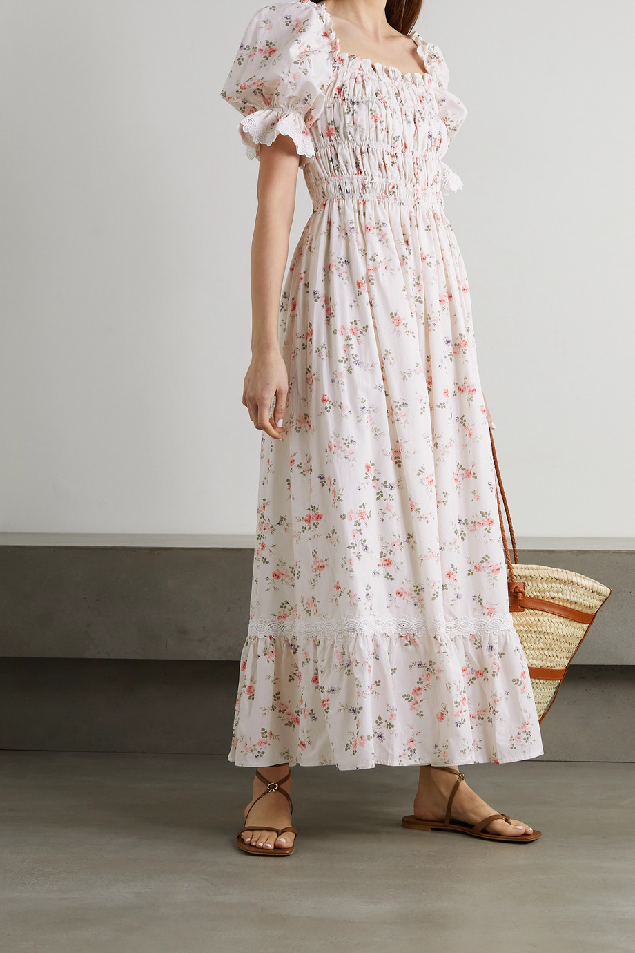 Lug Von Siga Elisa crochet-trimmed floral-print cotton maxi dress