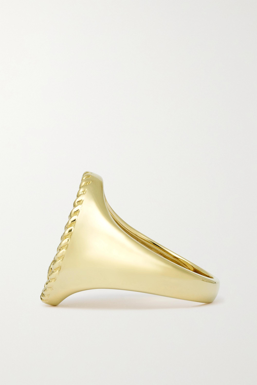 Yvonne Léon Ring aus 9 Karat Gold mit Perlmutt und Diamant