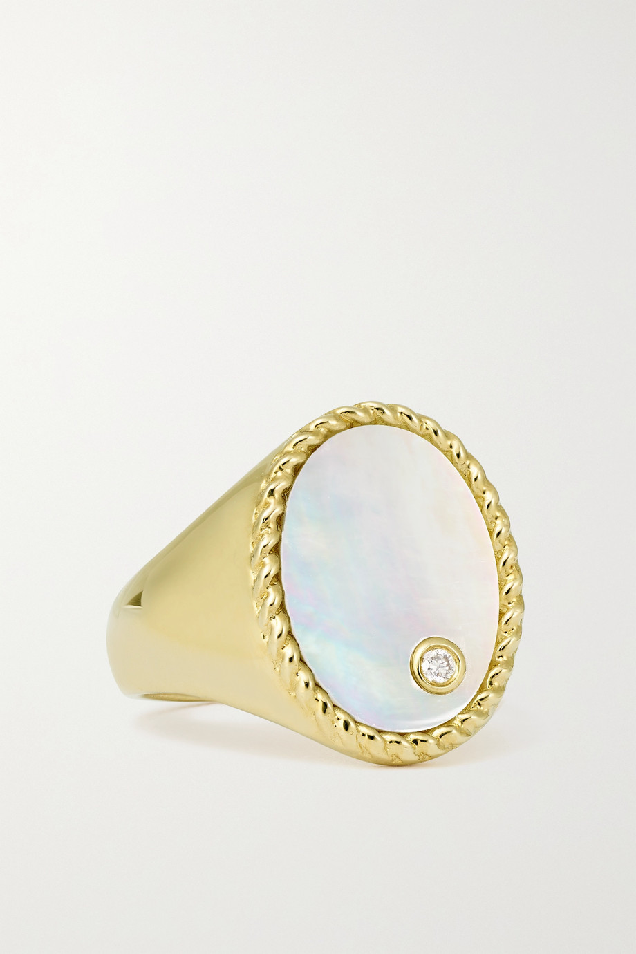 Yvonne Léon 9-karat gold, mother-of-pearl and diamond signet ring