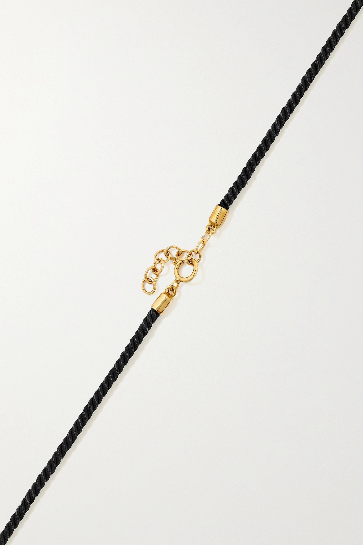 Yvonne Léon Collier en or 9 carats (375/1000), soie et diamants