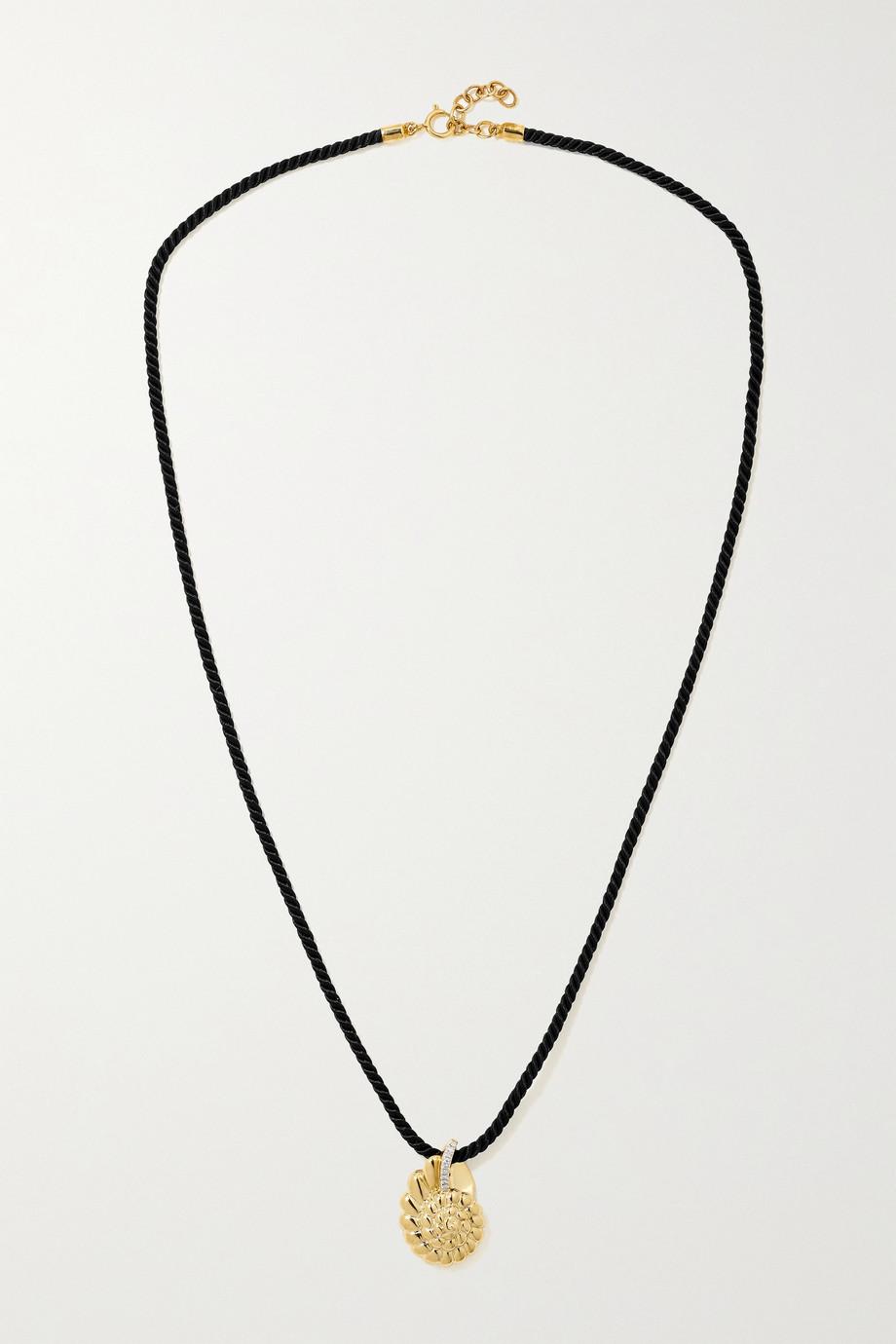Yvonne Léon 9-karat gold, silk and diamond necklace
