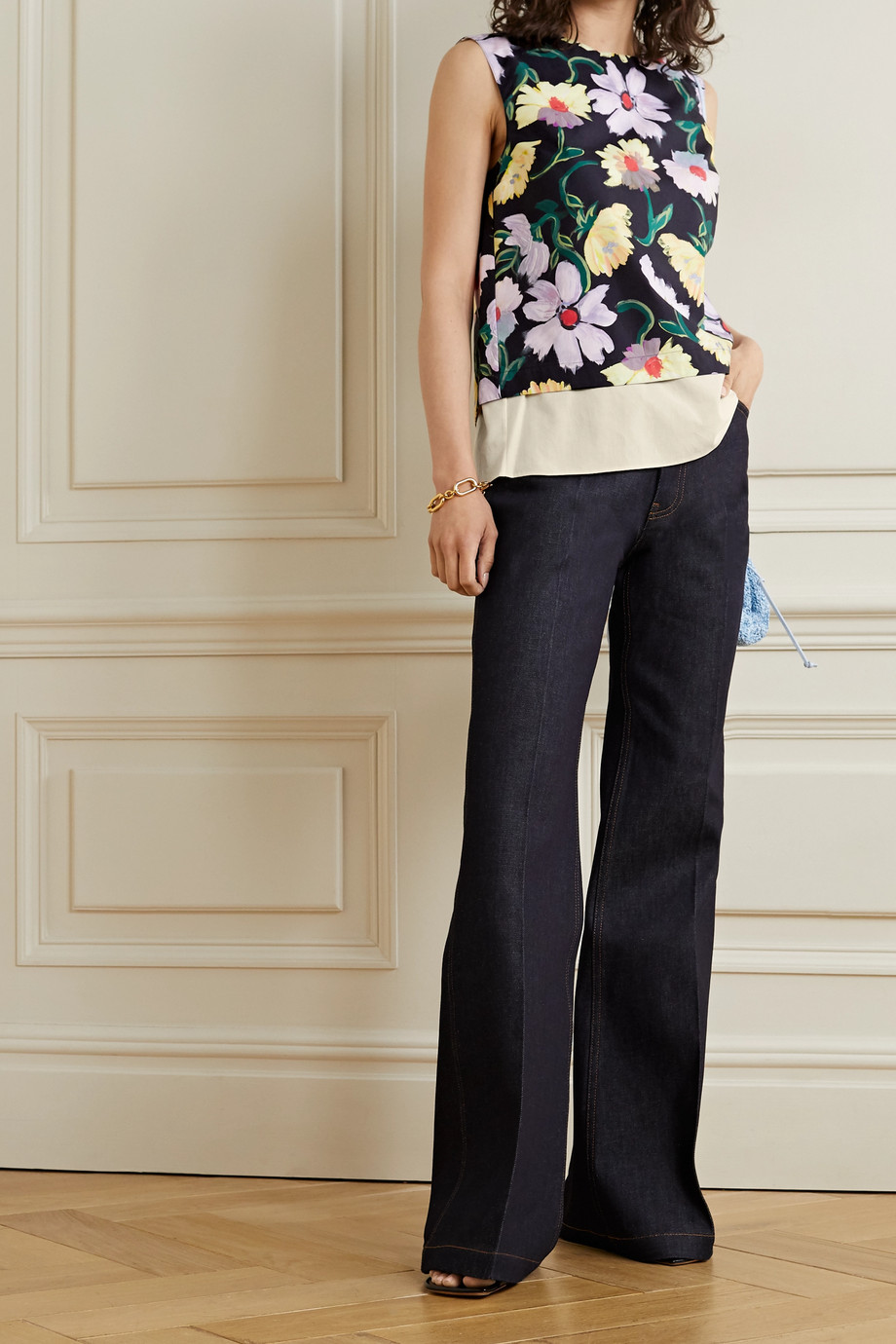 Marni Open-back layered floral-print cotton-poplin and voile top