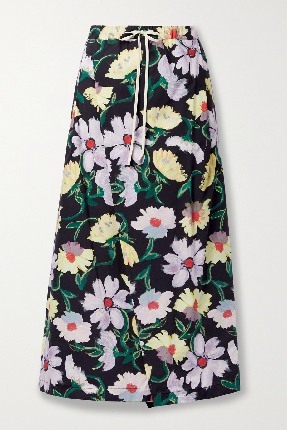 Marni Wrap-effect floral-print cotton-poplin wide-leg pants