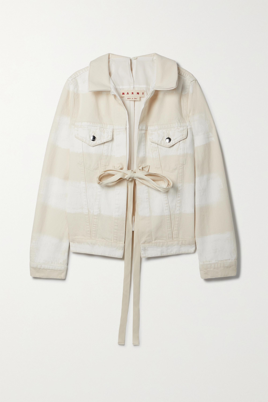 Marni - Tie-detailed striped denim jacket