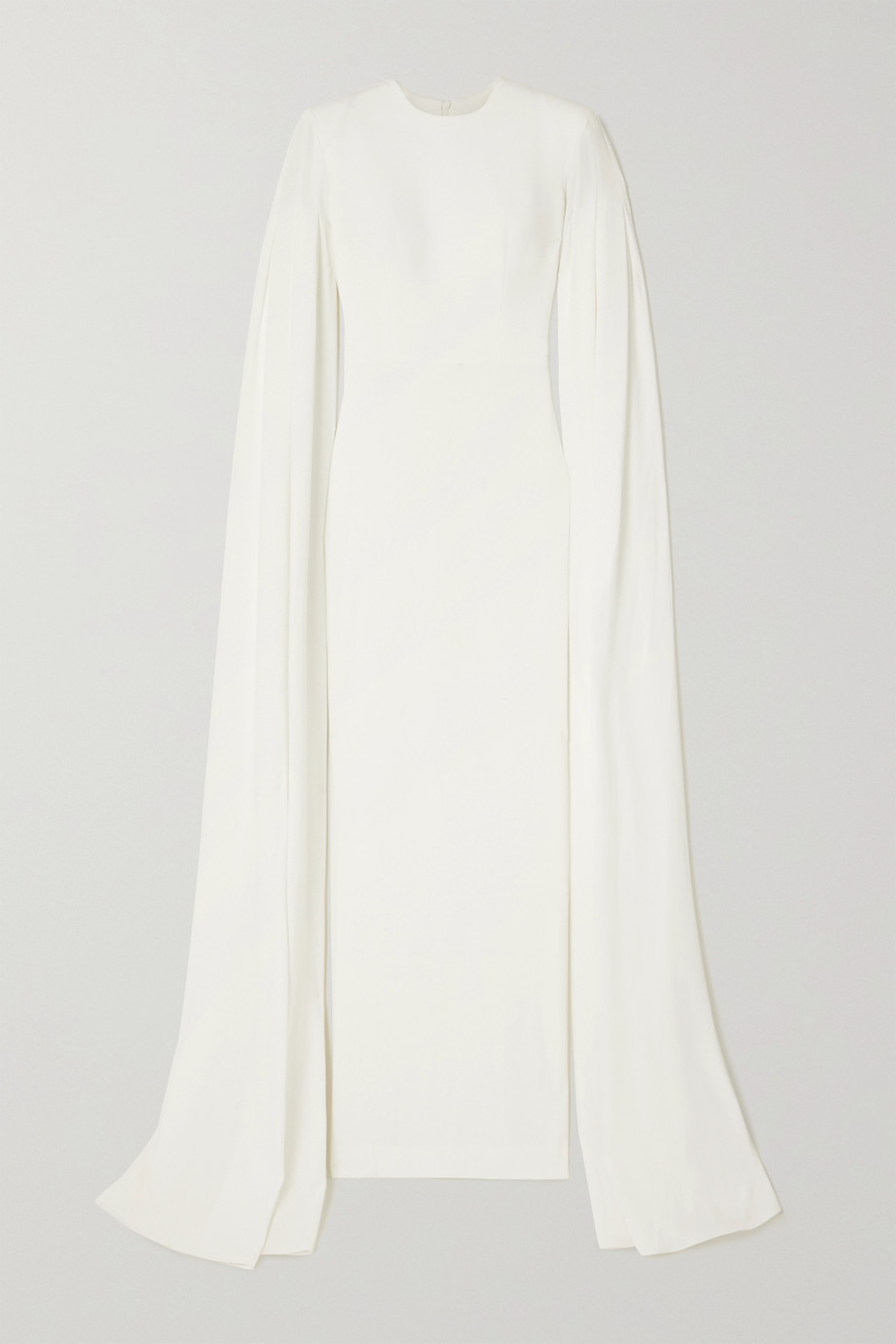 Alex Perry Alder cape-effect pleated satin-crepe gown