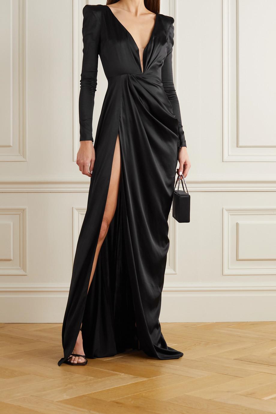Alex Perry Bentley draped silk-blend satin gown