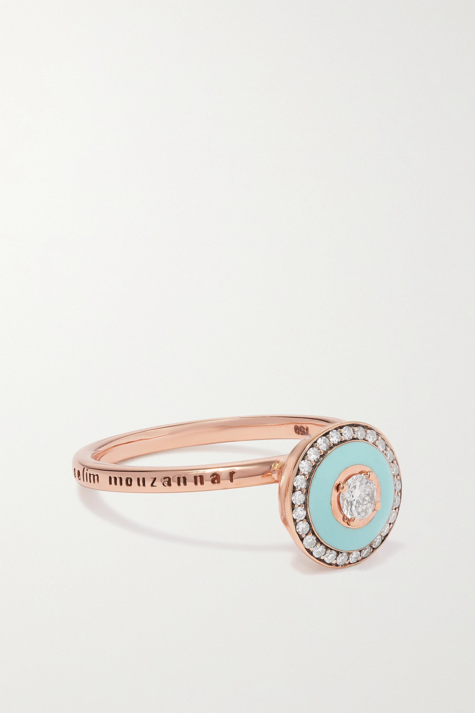 Selim Mouzannar - 18-karat rose gold, enamel and diamond ring