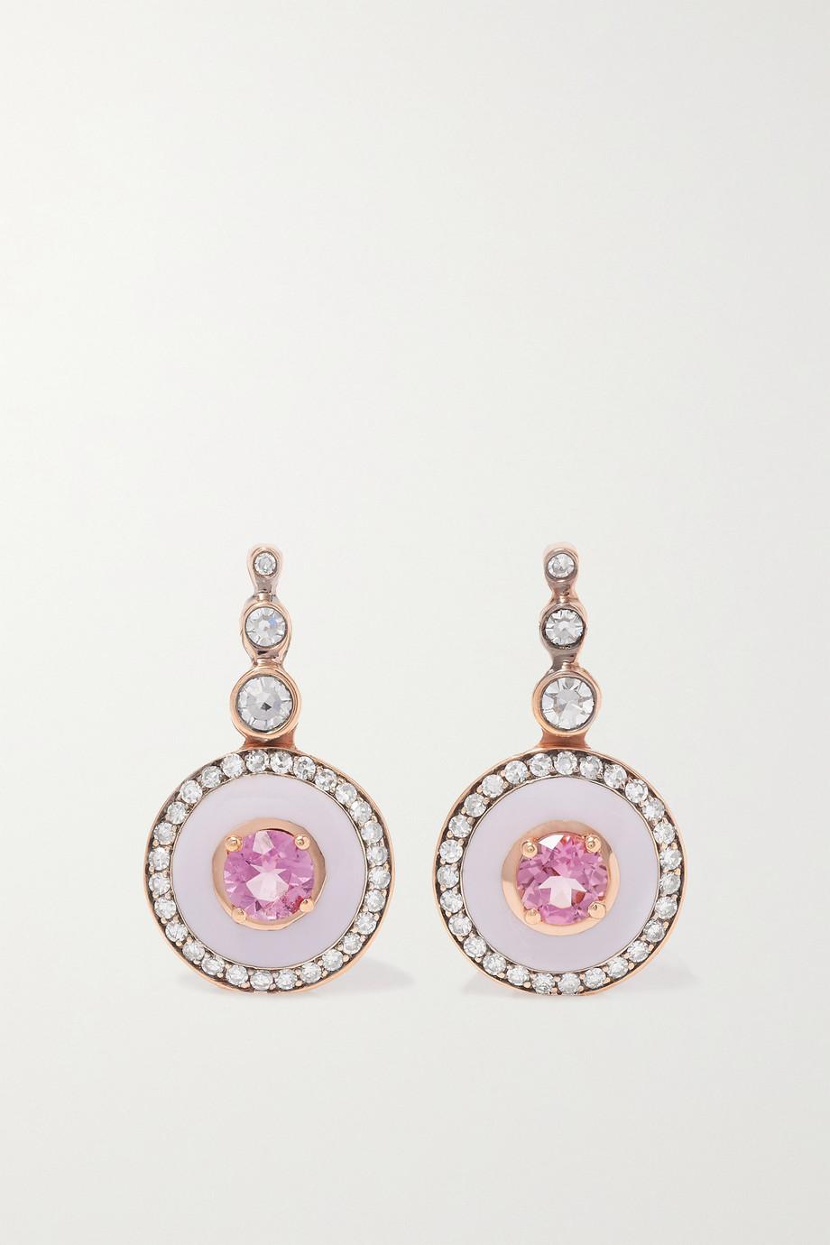 Selim Mouzannar Boucles d'oreilles en or rose 18 carats (750/1000), émail, tourmalines et diamants