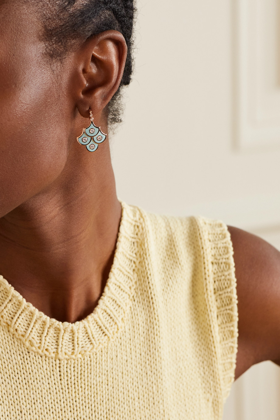 Selim Mouzannar Fish For Love 18-karat rose gold, enamel and diamond earrings