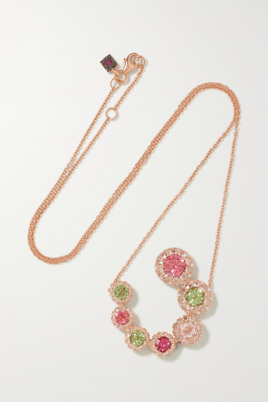 Selim Mouzannar Collier en or rose 18 carats, tourmalines et diamants Beirut Circle