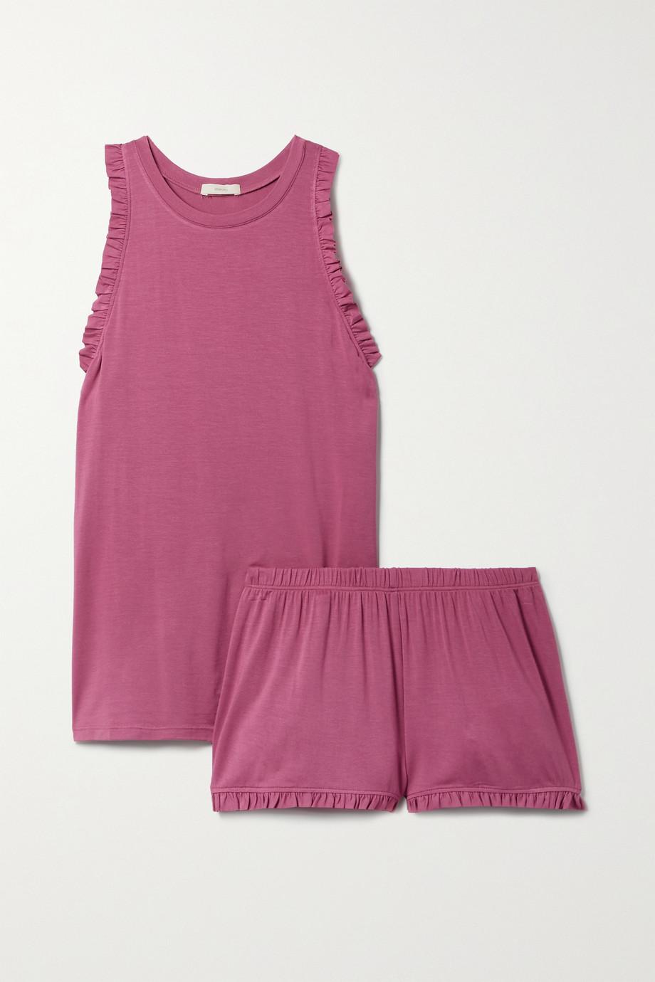 Eberjey Ruthie Caravan Pyjama aus Stretch-Modal mit Rüschen