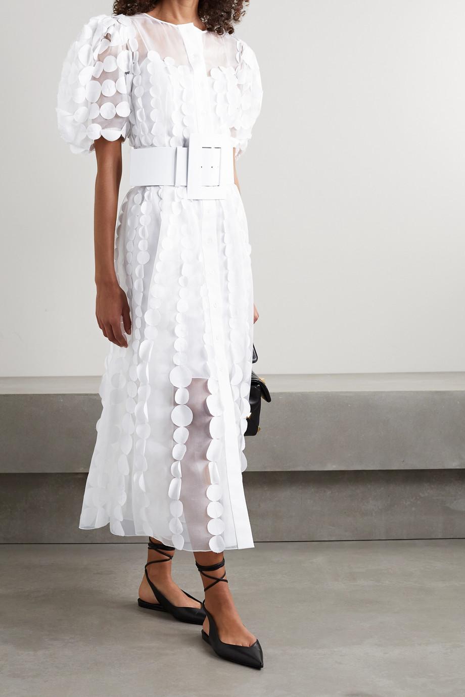 Carolina Herrera Belted appliquéd silk-organza midi dress