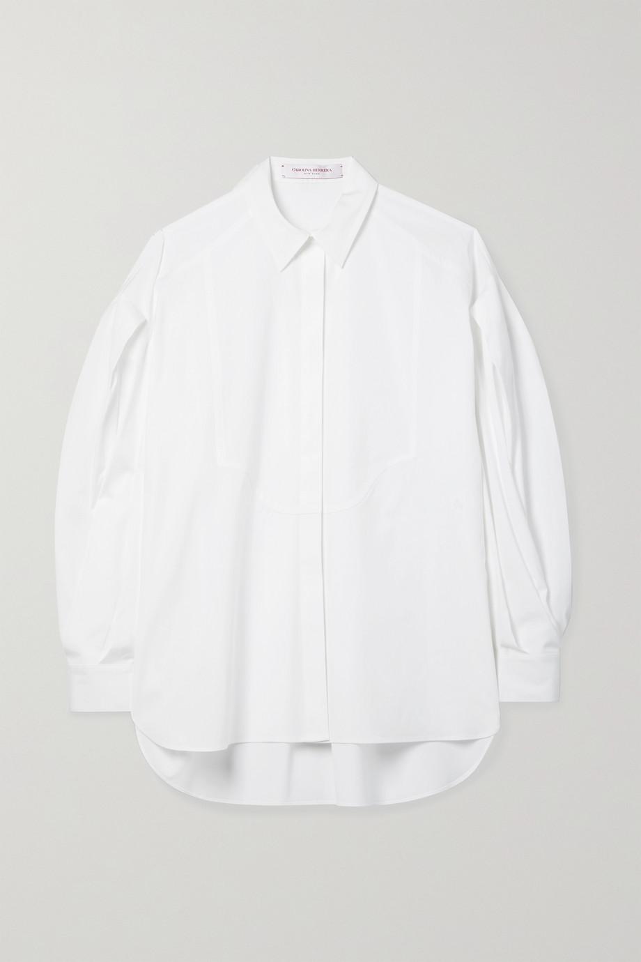 Carolina Herrera Chemise en popeline de coton mélangé à plis
