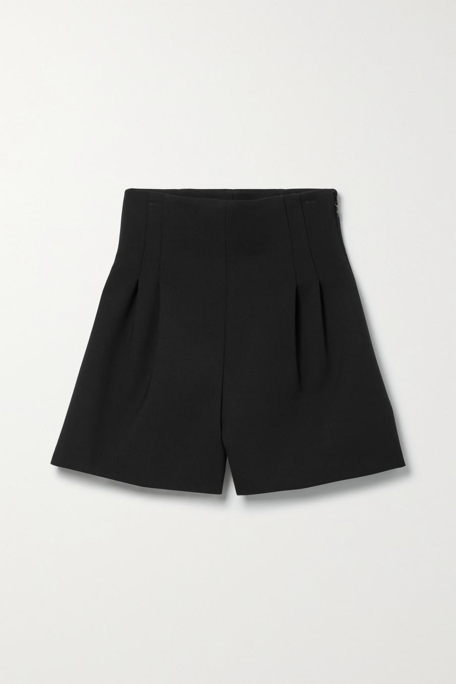 Carolina Herrera Pleated wool-blend crepe shorts