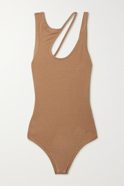 Alix NYC Allen cutout ribbed stretch-modal jersey thong bodysuit