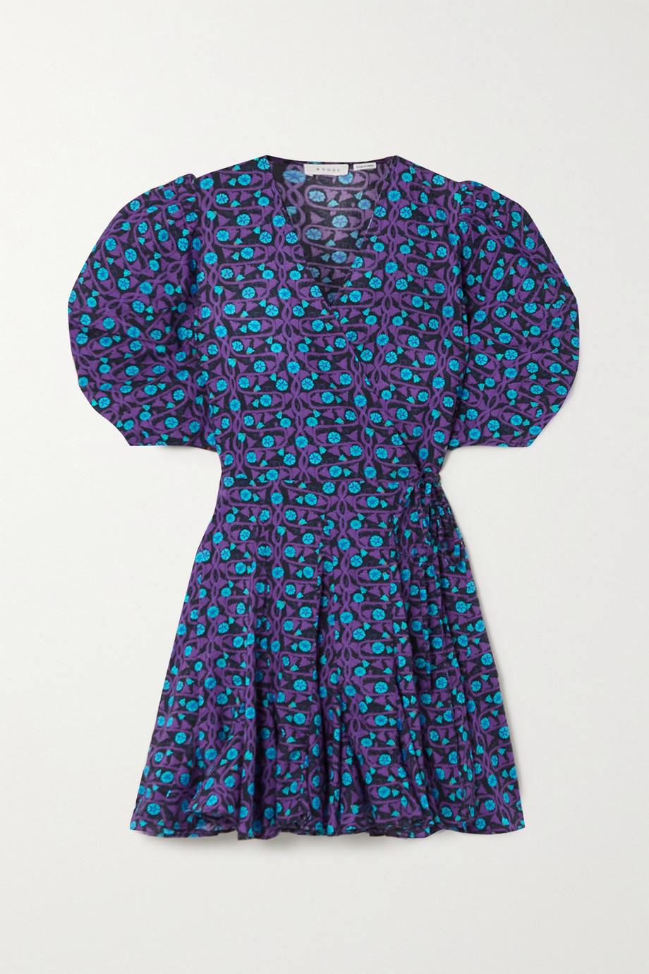 Rhode Claudine printed cotton-voile mini wrap dress