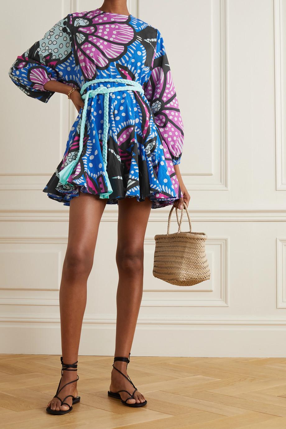 Rhode Ella belted printed cotton-voile mini dress