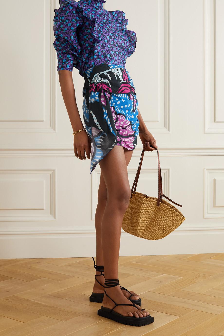 Rhode Hanna draped printed cotton-voile mini skirt