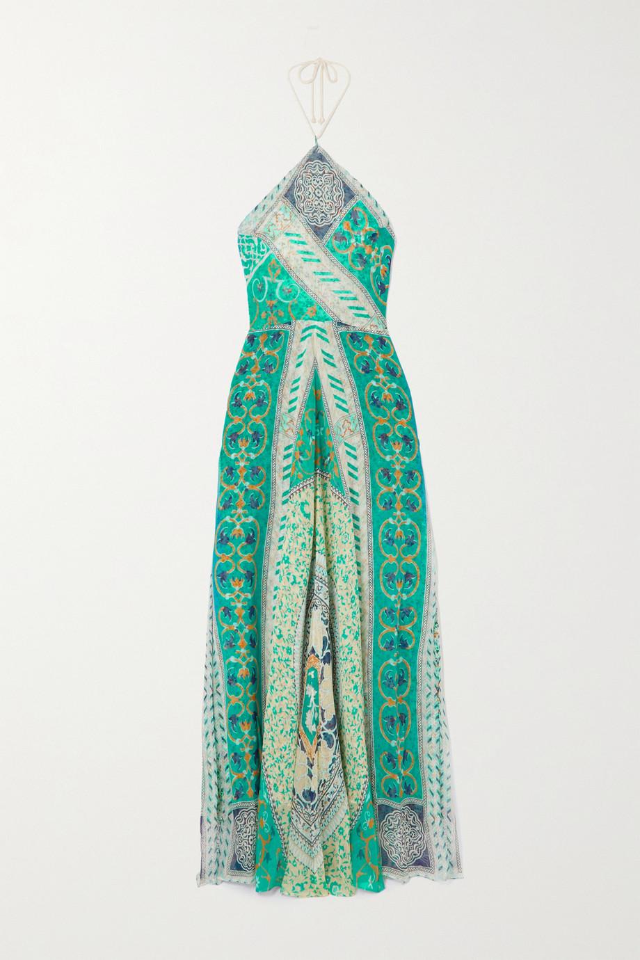 Etro Printed silk-chiffon halterneck maxi dress