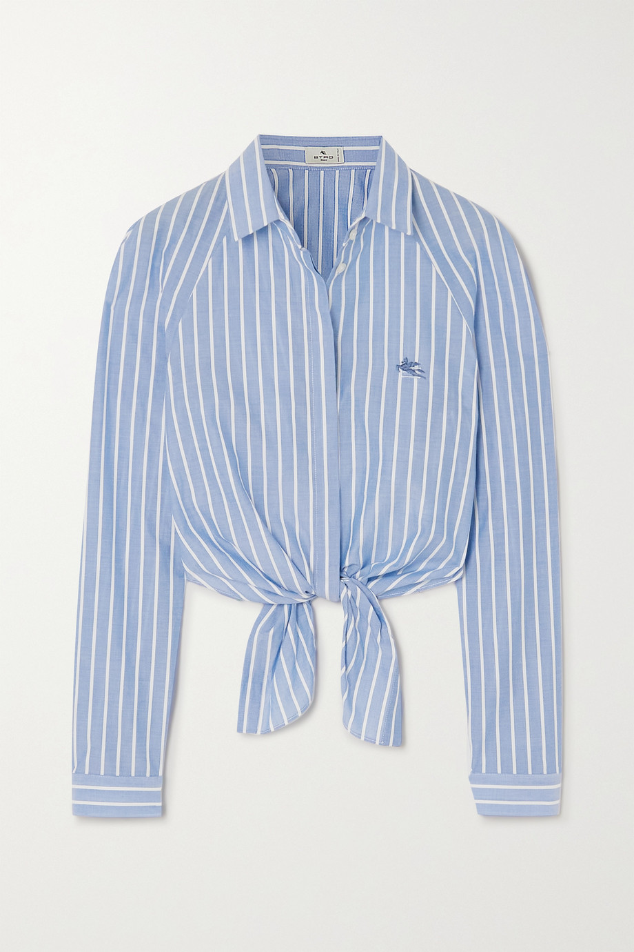 Etro Cropped tie-front striped cotton-poplin shirt