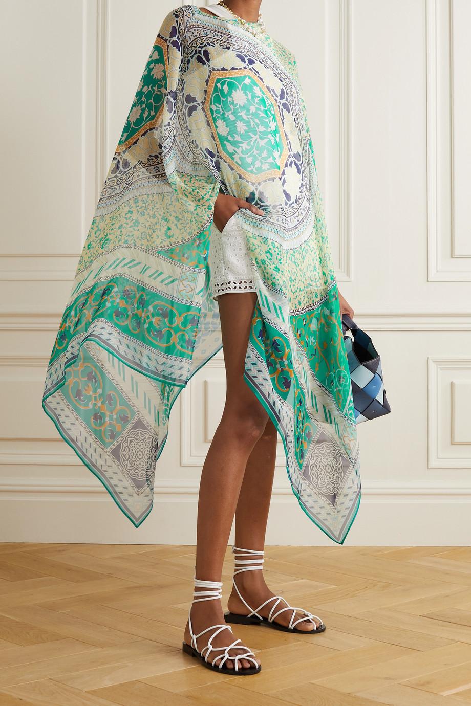 Etro Printed silk-chiffon poncho