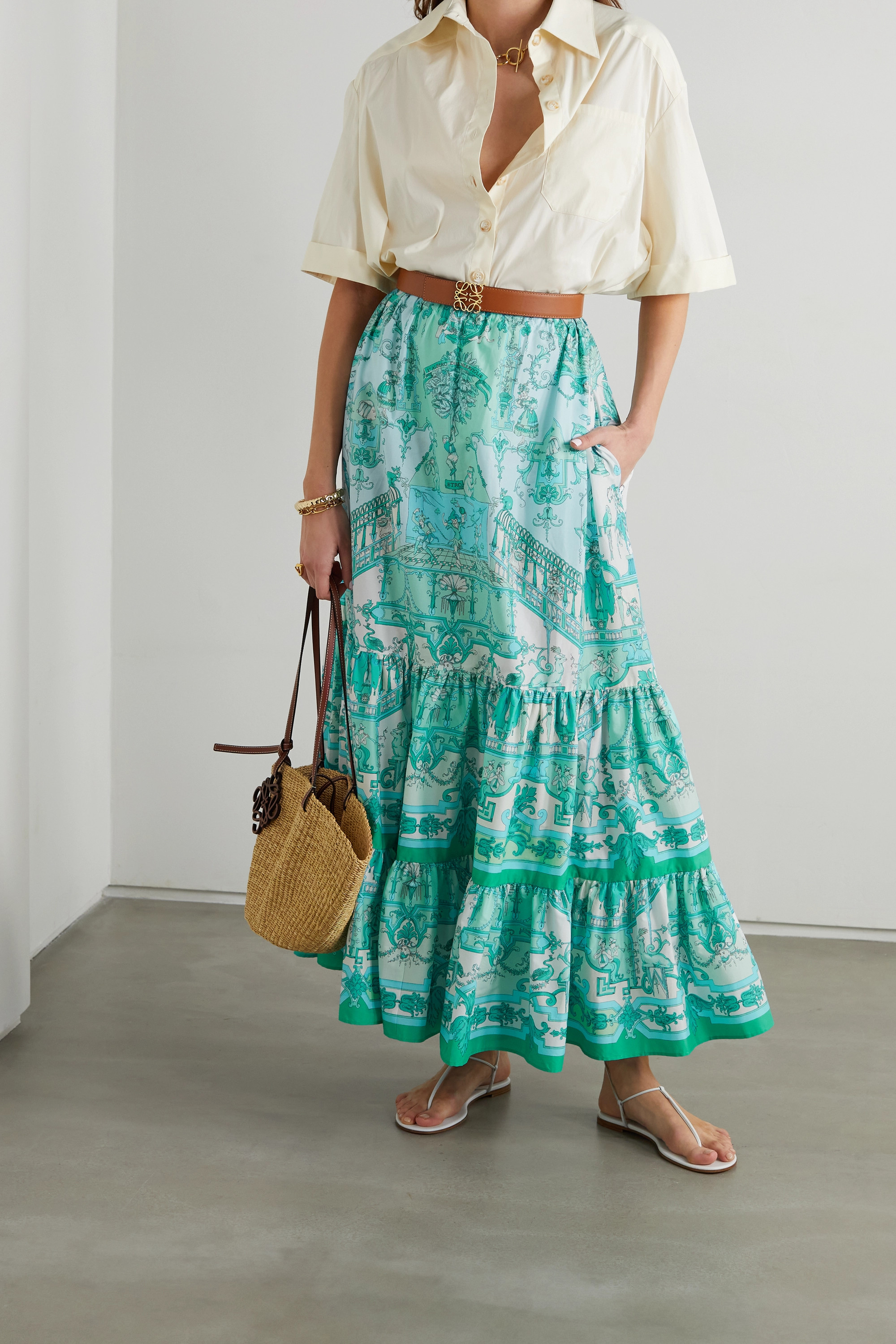 Etro Tiered printed cotton-blend poplin maxi skirt