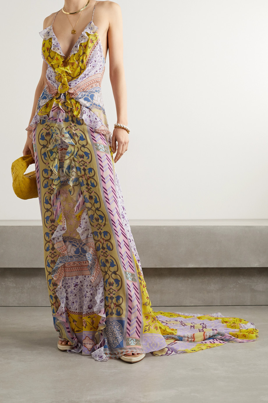 Etro Open-back ruffled printed silk-georgette maxi dress